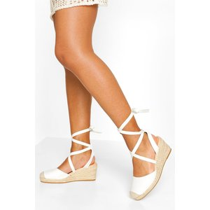 Boohoo Womens Wrap Strap Espadrille Wedges - White - 6, White Fzz6785917314 Womens Footwear, White