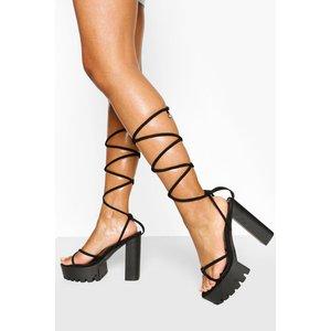 Boohoo Womens Wrap Strap Platfrom Heels - Black - 5, Black Fzz6132510513 Womens Footwear, Black