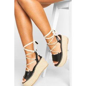 Boohoo Womens Wrap Up Strap Raffia Flatforms - Black - 7, Black Fzz6259410515 Womens Footwear, Black