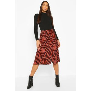 Boohoo Womens Zebra Split Midi - Orange - 14, Orange Fzz7969572222 Womens Dresses & Skirts, Orange