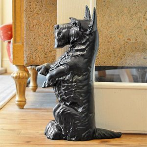 Cast In Style Black Scottie Dog Door Stop - Life Size*  G2302