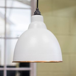 From the Anvil Brindley Pendant - Light Grey Exterior With Hammered Copper Interior  J5133