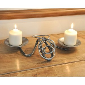 Cast in Style Hand Forged Double Table Candle Holder  J1214