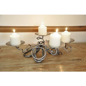 Cast In Style Hand Forged Quad Table Candle Holder  J3625