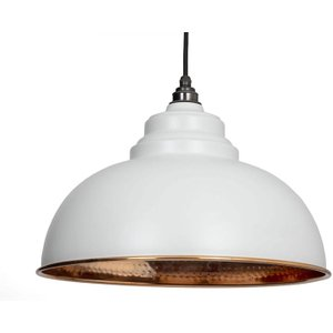 From the Anvil Harborne Pendant - Light Grey Exterior With Hammered Copper Interior  J5147