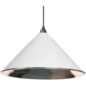 From the Anvil Hockley Pendant - Light Grey Exterior With Hammered Nickel Interior  J5537