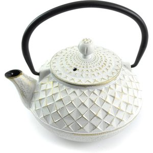 Cast in Style Japanese Cast Iron Tea Pot For One - Ivory And Gold  L1341