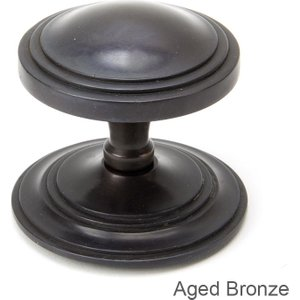 From the Anvil Period Art Deco Centre Door Knob - Aged Bronze  D4978