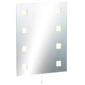 Knightsbridge Illuminated Decorative Bathroom Wall Mirror Ip44 Rated With Dual Shaver Sock Glass 3365awuk Rct6045sd, Glass