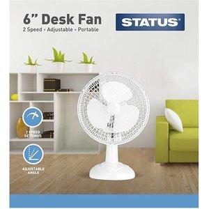 Status Portable 6-inch Desk Fan, White  8060AWUK S6DESKFAN1PKB