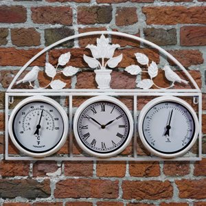 Garden Wall Clock - Cream G2612 Garden & Leisure