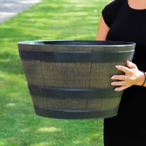 Medium Wooden Barrel Effect Planter 590382 Garden Tools