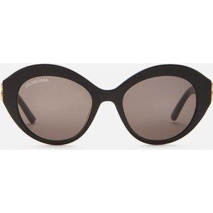 Balenciaga Women's Bb Oversized Round Acetate Sunglasses - Black/gold Frame: Black/gold. Lens: Brown. Bb0133s 001, Frame: Black/Gold. Lens: Brown.