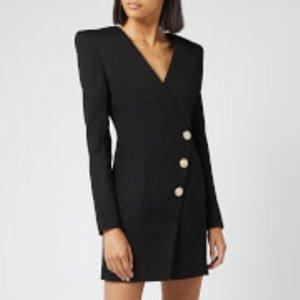 Balmain Women's Short Wool Wrap Dress - Black - Fr 38/uk 10 - Black  SF16140W028 0PA Dresses Womens Dresses & Skirts, Black