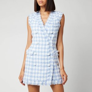 Balmain Women's Sleevless 8 Button Gingham Tweed Dress - Blanc/bleu - Fr38/uk10 Blue Wf1r5010c307 Dresses Clothing Accessories, Blue