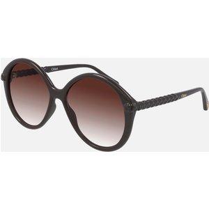 Chloé Women's Billie Recycable Acetate Sunglasses - Brown/orange Frame: Dark Brown. Lens: Orange. Ch0002s 001 58 Womens Accessories, Frame: Dark Brown. Lens: Orange.