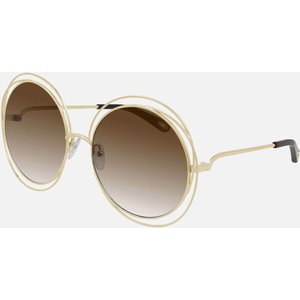 Chloé Women's Carlina Oversized Round Sunglasses - Gold/brown Frame: Gold. Lens: Brown. Ch0045s 001 62 Womens Accessories, Frame: Gold. Lens: Brown.