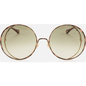 Chloé Women's Hannah Round Sunglasses - Gold/green Gold/brown Ch0037s 003 Womens Accessories, Gold/Brown