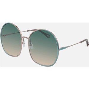 Chloé Women's Irene Oversized Round Sunglasses - Blue/green Ch0014s 002 62 Womens Accessories, Blue