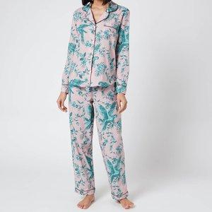 Desmond & Dempsey Women's Parrot Long Set - Pink/green - L Parrotlongset Underwear And Nightwear, Pink