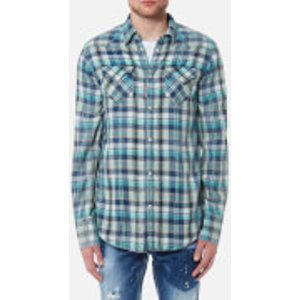 Dsquared2 Men's Checked Western Shirt - Blue/green - M - Blue/green  S74dm0110s48454001f Shirts Mens Tops, Blue/Green