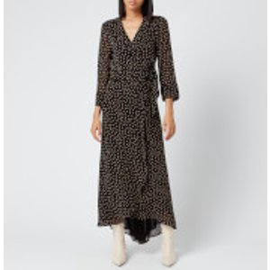 Ganni Women's Printed Georgette Wrap Dress - Black - Eu 36/uk 8  F4621 099 Dresses Womens Dresses & Skirts, Black