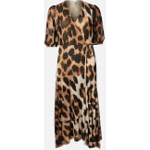 Ganni Women's Printed Mesh Wrap Dress - Maxi Leopard - Eu 42/uk 14 Multi  T2507 994 Dresses Womens Dresses & Skirts, Multi