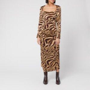 Ganni Women's Ruche Silk Zebra Print Dress - Tannin - Eu 38/uk 10 Brown  F4511 185 Dresses Womens Dresses & Skirts, Brown