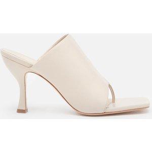 Gia Couture X Pernille Women's Perni 80mm Leather Toe Post Heeled Mules - Cream Leather -  Perni02 Sandals Shoes, Cream