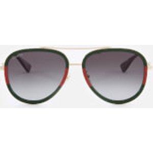 Gucci Women's Metal Aviator Sunglasses - Gold/green  Gg0062s 003 57  Womens Accessories, Gold