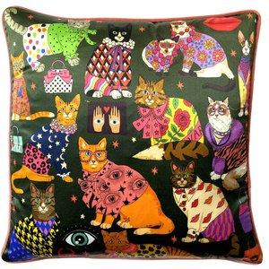 Karen Mabon Fashion Cats Cushion - Green - 45x45cm Km Fc G 45 C Home Accessories, Green