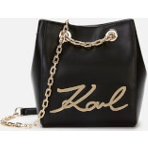 Karl Lagerfeld Women's K/signature Bucket Bag - Black/gold  96KW3028 a997  Clothing Accessories, Black