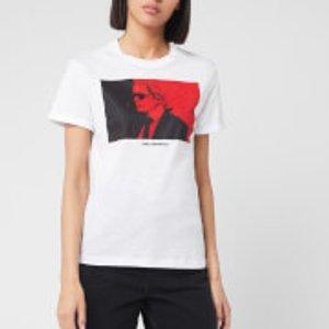 Karl Lagerfeld Women's Legend Colour Block T-shirt - White - L 200w1790 100 Tops Womens Tops, White