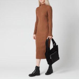 Kenzo Women's Skinny Rib Long Dress - Chestnut - M Brown  Fa62ro5053aj Dresses Womens Dresses & Skirts, Brown