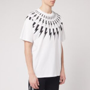 Neil Barrett Men's Fairisle Thunderbolt T-shirt - White/black - S  Bjt726s N503p Tops Mens Tops, White