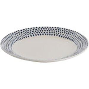 Nkuku Indigo Drop Dinner Plate - Cream And Indigo Cream/Blue  ID0201  Home Accessories, Cream/Blue
