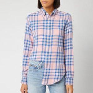 Polo Ralph Lauren Women's Georgia Long Sleeve Shirt - Pink/blue Plaid - S - Pink  211753078001 Tops Womens Tops, Pink