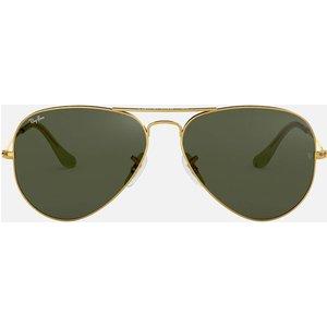 Ray-ban Metal Aviator Sunglasses - Gold Green 0rb3025 L0205 58 Womens Accessories, Green