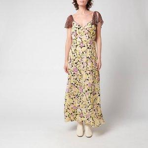 Rixo Women's Effie Midi Dress - Lilac Meadow Leopard Mix - Uk 8 Multi 29637 Dresses Clothing Accessories, Multi