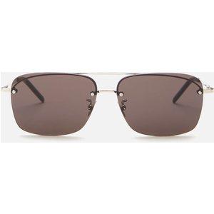 Saint Laurent Men's Sl 417 Metal Aviator Sunglasses - Silver/black Sl 417 001 Mens Accessories, Black