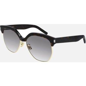 Saint Laurent Women's Half Acetate Frame Sunglasses - Havana/grey Brown Sl 408 003 Womens Accessories, Brown