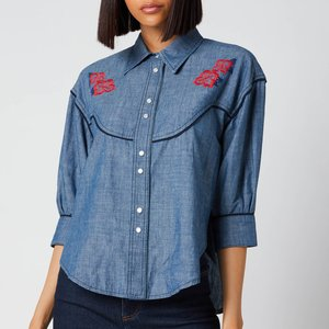 See By Chloé See By Chloé Women's Chambray Frill Collar Shirt - Faded Indigo - Eu 34/uk 6 Blue Chs21udh02163 Tops Clothing Accessories, Blue