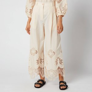 See By Chloé See By Chloé Women's Cotton Voile & Guipure Trousers - Macadamia Brown - Eu 36/uk 8 White Chs21upa01025 Clothing Accessories, White