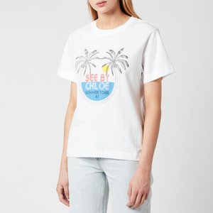 See By Chloé See By Chloé Women's Summer Tour On Cotton Jersey T-shirt - White - S Chs21ujh18 Tops Clothing Accessories, White