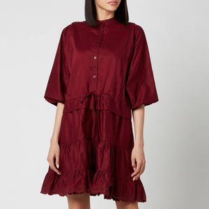See By Chloéwomen's Tie Waist Shirt Dress - Smoked Red - Eu 38/uk 10 Chs21sro10 Dresses Clothing Accessories, Red