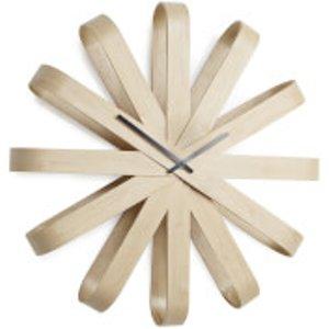 Umbra Ribbonwood Wall Clock - Natural  118071 390  Home Accessories, Natural