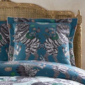 Clarke & Clarke Caspian Square Pillowcase Aqua And Teal Oxford Cc/pilc/caspian/aquaandteal 3379