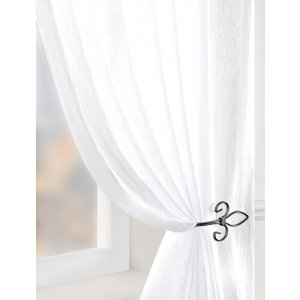 Pavilion Ready Made Curtains Crushed Double Width Voile Curtain Panel White Pv/rmc/crushed/wht 2002