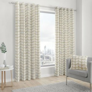J Rosenthal Delft Ready Made Lined Eyelet Curtains Natural 4434715344990 Jr/rmc/delft/natural 0049