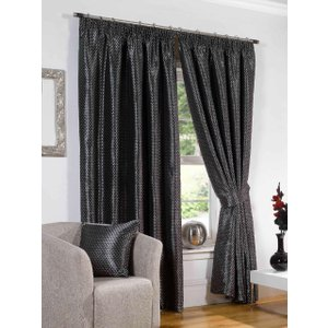 Gordon John Ready Made Curtains Sicily Ready Made Lined Curtains Black Gj/rmc/sicily/blk 0026